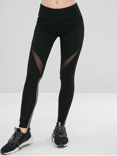 ladies Mesh Panel Sport Yoga Leggings - BLACK M Mobile
