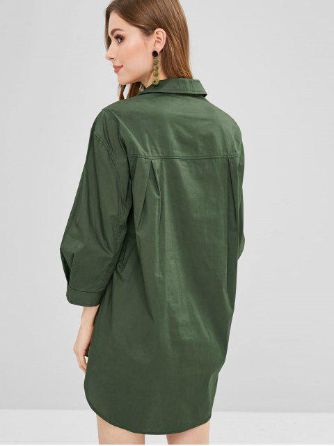 chic Half Button Shirt Dress - DARK FOREST GREEN L Mobile