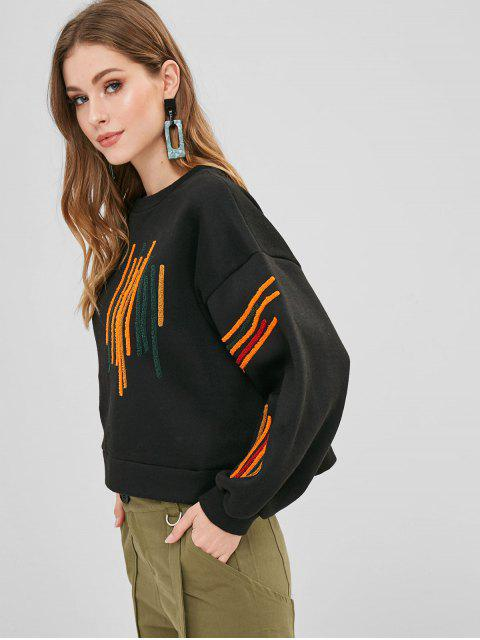 women's Colorful Striped Fleece Oversized Sweatshirt - BLACK L Mobile