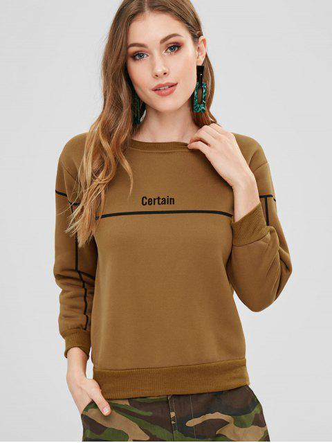 outfits Stripe Letter Graphic Fleece Inner Sweatshirt - BROWN M Mobile