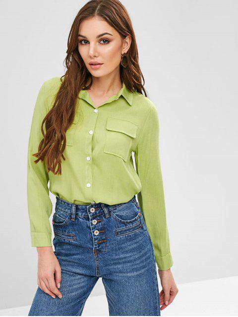 chic Roll Sleeve Chest Pockets Shirt - GREEN PEAS S Mobile