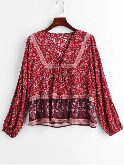 best Floral Print Small Bell Embllished Lace Up Blouse - MULTI S Mobile