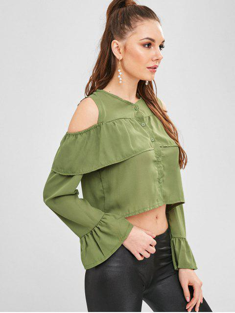 new Buttoned Cold Shoulder Crop Blouse - GREEN PEAS L Mobile
