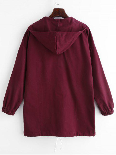 outfits Pockets Hooded Snap Button Coat - VELVET MAROON XL Mobile