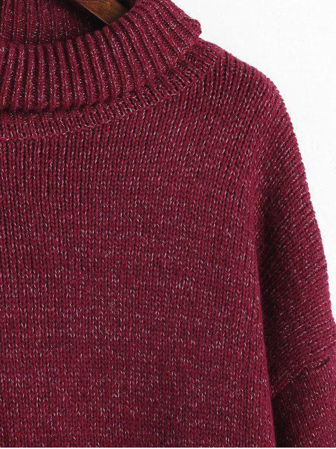unique Mixed Oversized Turtleneck Sweater - RED WINE ONE SIZE Mobile