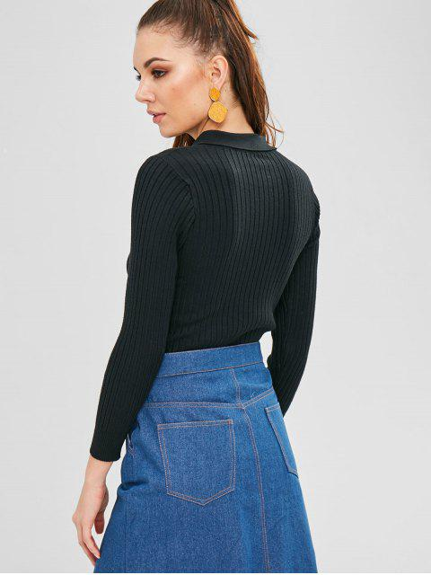 fashion Collared Ribbed Slim Sweater - BLACK ONE SIZE Mobile