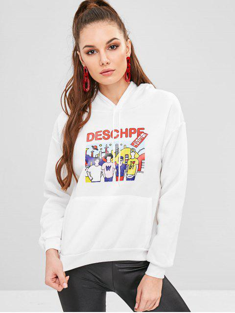 ladies Pouch Pocket Fleece Graphic Hoodie - WHITE M Mobile