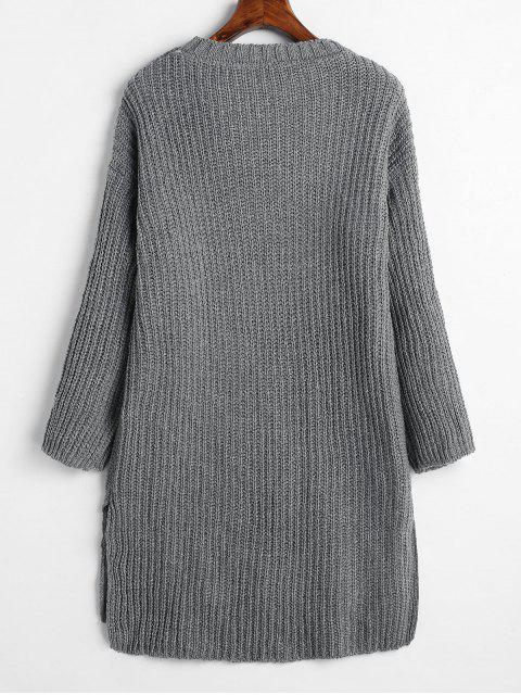 outfit Side Slit Drop Shoulder Long Sweater - GRAY ONE SIZE Mobile