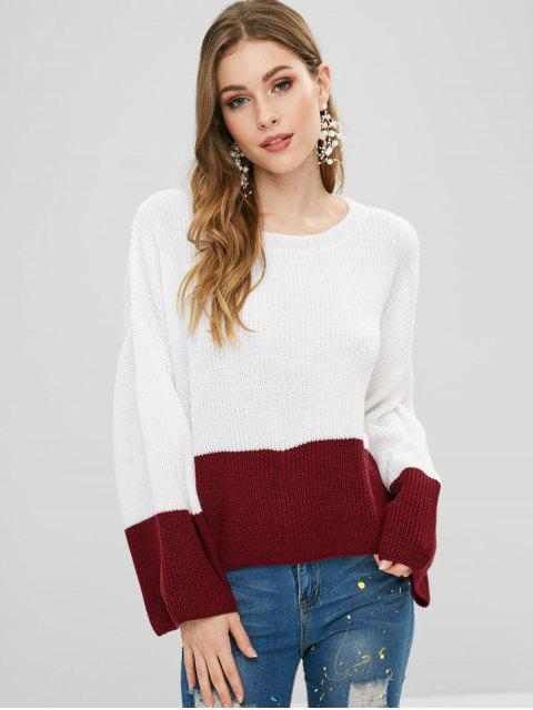 fashion ZAFUL Two Tone Pullover Sweater - MULTI ONE SIZE Mobile