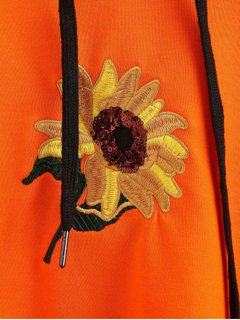 trendy Sequin Flower Embroidered Hoodie - ORANGE M Mobile