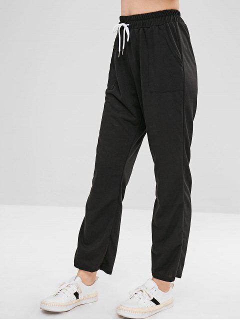 lady Pockets Plain Straight Pants - BLACK S Mobile