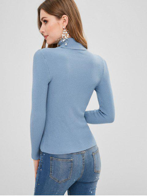 womens Turtleneck Ribbed Jumper Sweater - BLUE KOI ONE SIZE Mobile