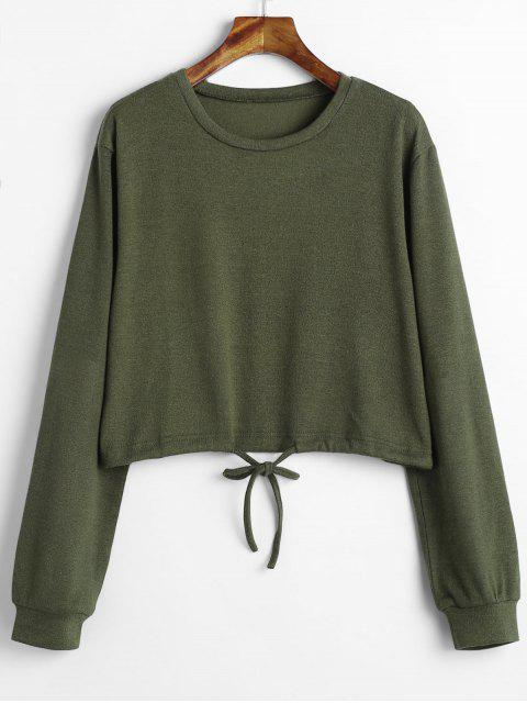 latest Drawstring Waist Cropped Sweater - ARMY GREEN S Mobile