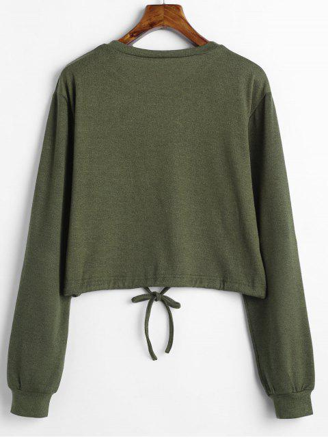 ladies Drawstring Waist Cropped Sweater - ARMY GREEN L Mobile