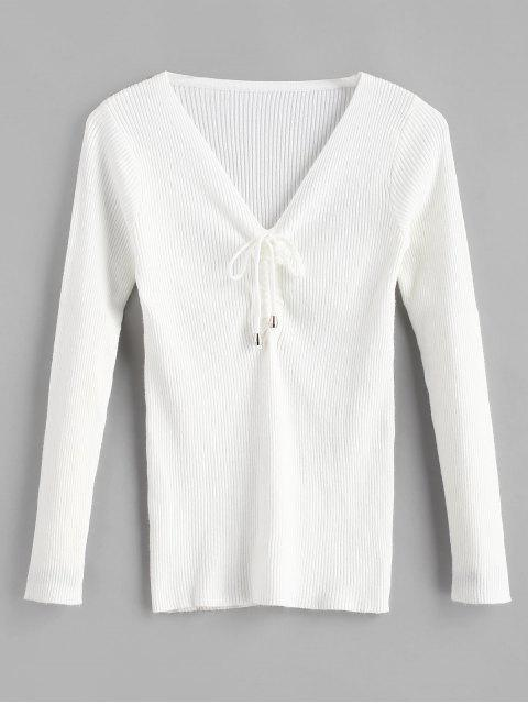 Suéter ceñido con cuello en V - Blanco Talla única Mobile
