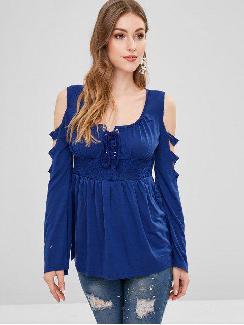 unique Lace Up Lattice T-shirt - BLUE XL Mobile