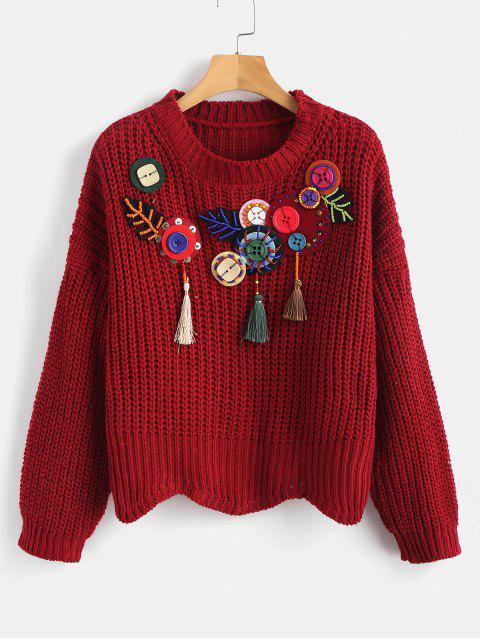 Suéter grueso con adornos en forma de caja - Vino Tinto Talla única Mobile