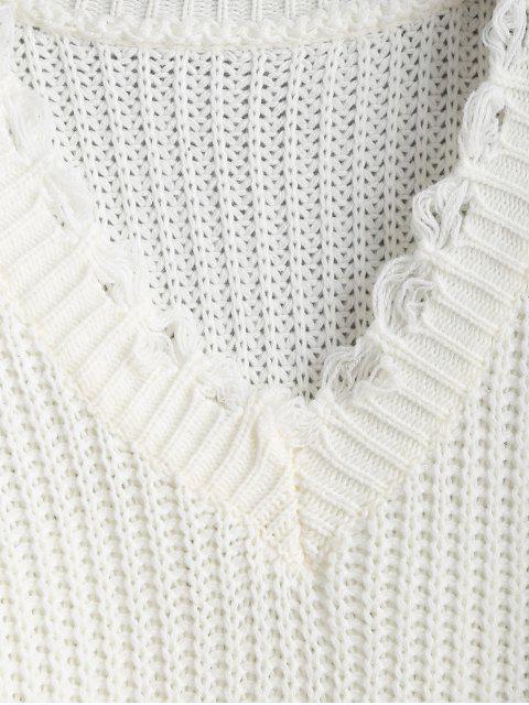 Drop Hombro V cuello desgastado suéter - Blanco Talla única Mobile