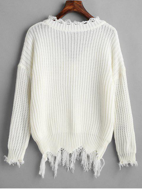 hot Drop Shoulder V Neck Distressed Sweater - WHITE ONE SIZE Mobile