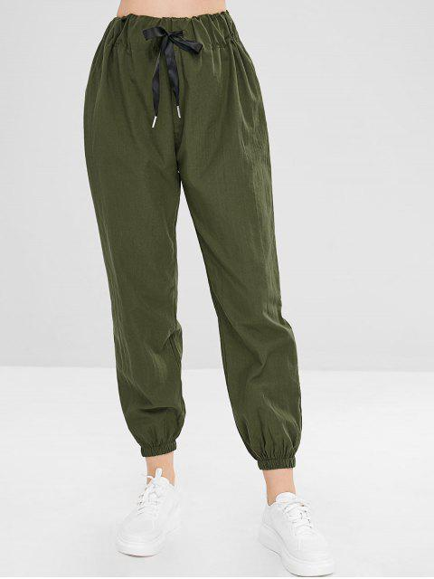 Pantalones de chándal de cintura alta lisos - Ejercito Verde L Mobile