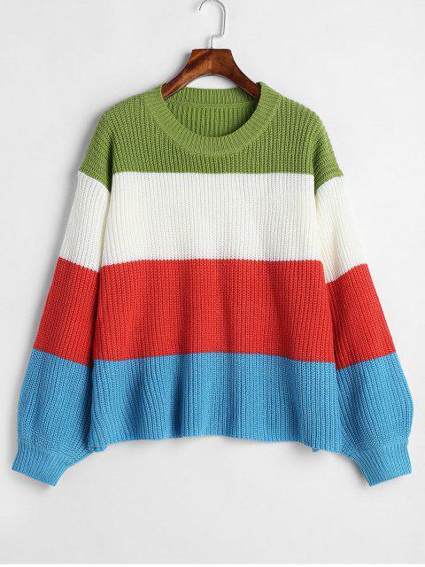 new ZAFUL Lantern Sleeve Stripes Sweater - MULTI-A ONE SIZE Mobile