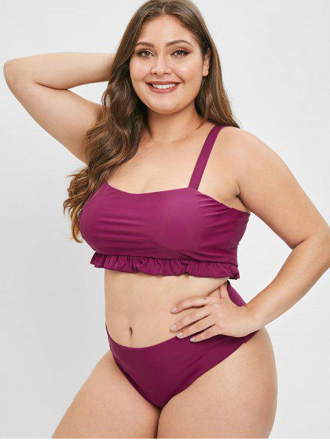 latest ZAFUL Ruffle Square Neck Plus Size Bathing Suit - RED WINE 2X Mobile