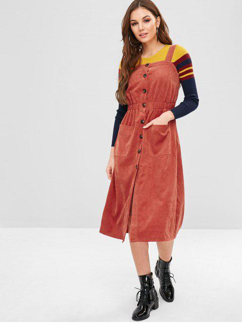 best ZAFUL Pockets Button Up Pinafore Dress - CHESTNUT RED L Mobile