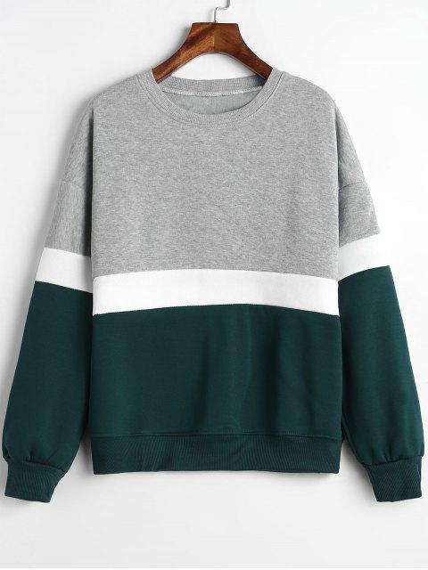 unique Paneled Color Block Fleece Sweatshirt - MULTI M Mobile