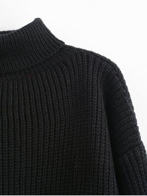 sale Turtleneck Lantern Sleeves Chunky Sweater - BLACK ONE SIZE Mobile