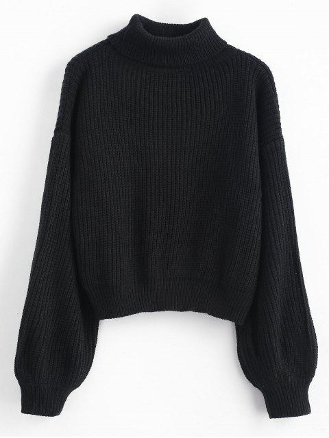 sale Turtleneck Lantern Sleeves Chunky Sweater - BLACK ONE SIZE Mobile