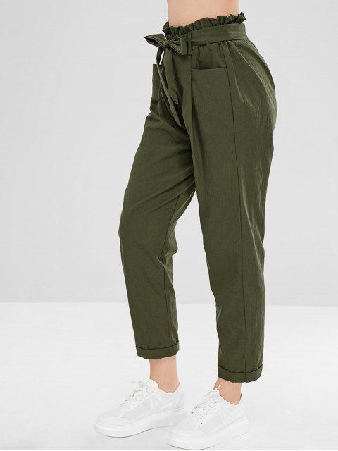 fancy Belted Cuffed Straight Pants - ARMY GREEN M Mobile