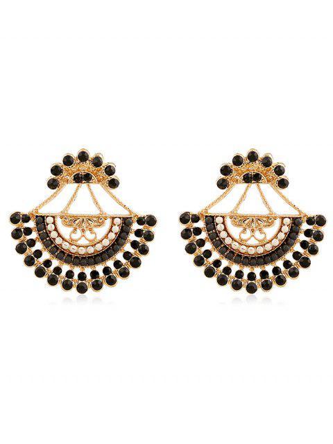 latest Rhinestone Inlaid Beaded Stud Earrings - BLACK  Mobile