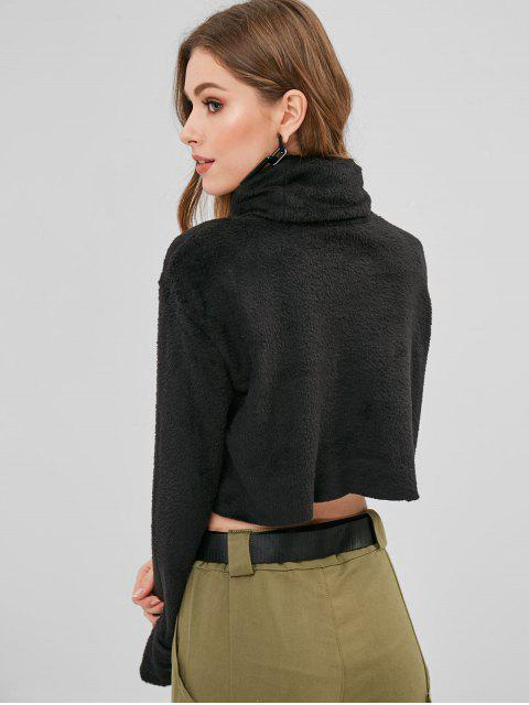 outfits ZAFUL Turtleneck Crop Faux Fur Sweatshirt - BLACK XL Mobile