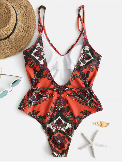 womens ZAFUL Retro Printed One Piece Swimsuit - PAPAYA ORANGE L Mobile