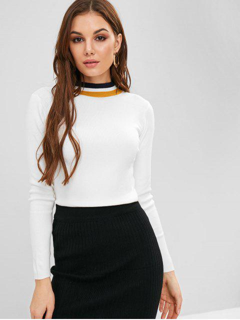 fashion Contrast Crew Neck Slim Sweater - WHITE ONE SIZE Mobile