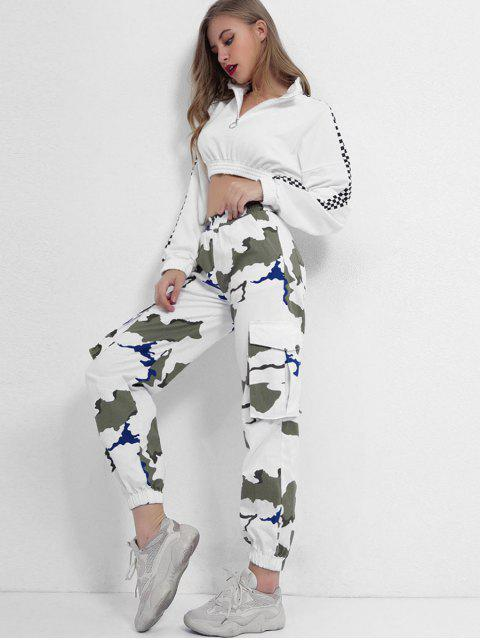 latest Mid Waist Printed Jogger Pants - MULTI-A S Mobile