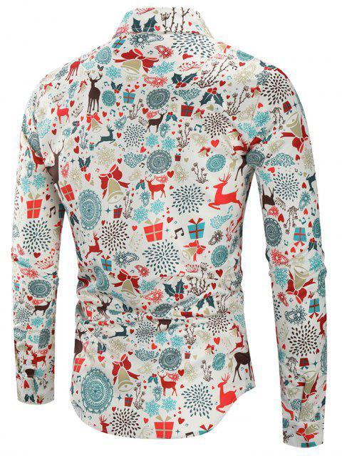 best Christmas Print Casual Shirt - MULTI 3XL Mobile