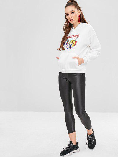 Pouch Pocket Fleece Graphic Hoodie, White