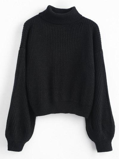 Turtleneck Lantern Sleeves Chunky Sweater - Black