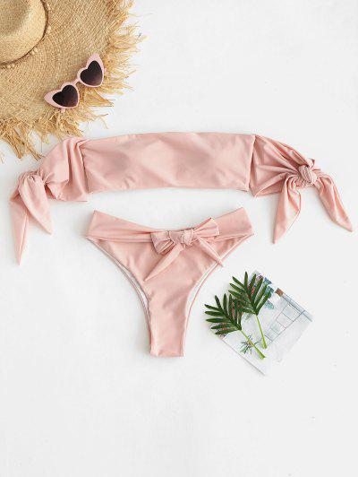 39422e5c4b ZAFUL Tie Off The Shoulder Bikini Set - Deep Peach S