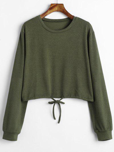 1fa7a76f96e Drawstring Waist Cropped Sweater - Army Green S ...