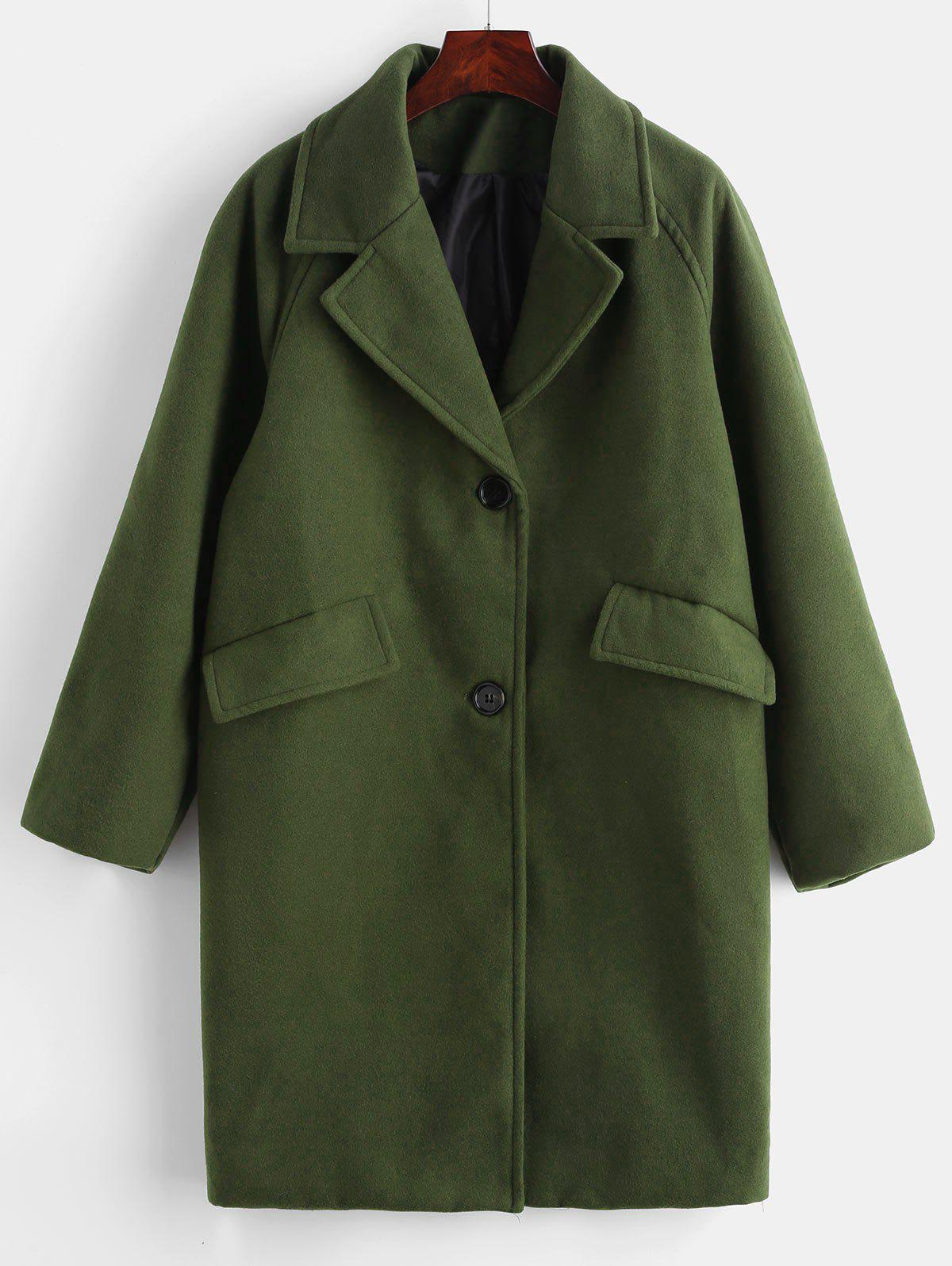 Button Up Pockets Lapel Coat, Army green