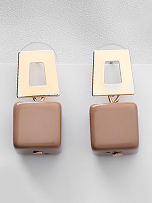 Geometric Block Hollow Decor Earrings