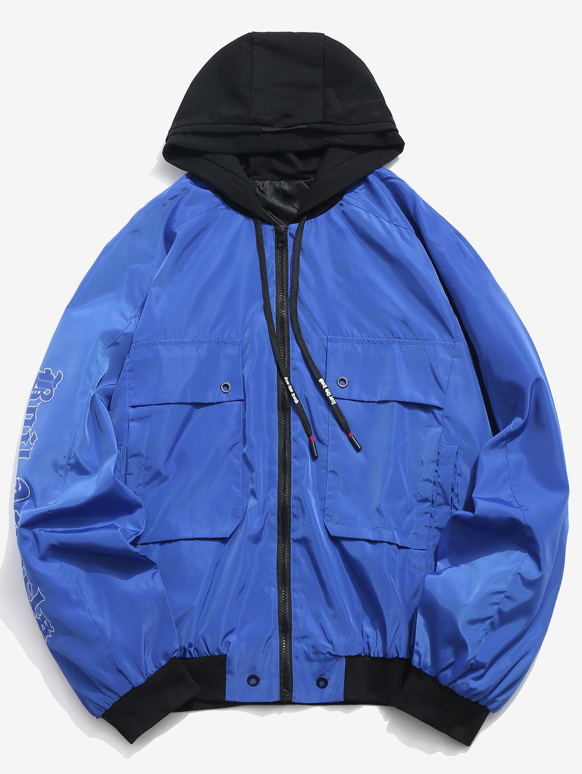 Letter Print Hooded Windproof Jacket