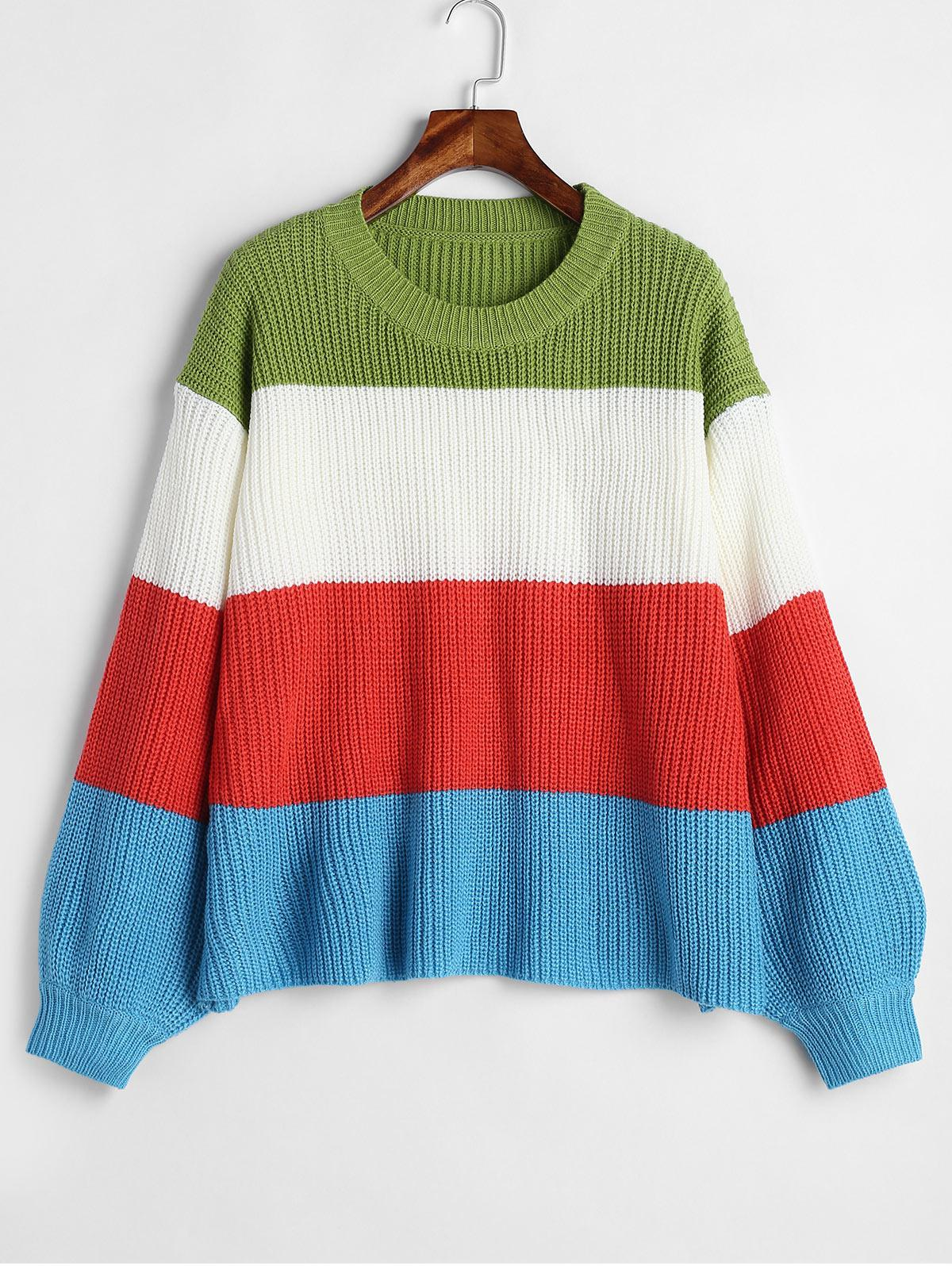ZAFUL Lantern Sleeve Stripes Sweater