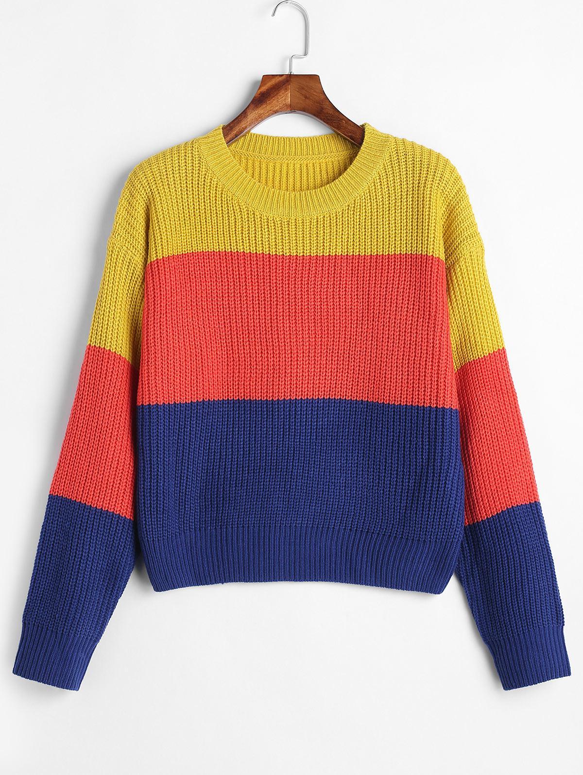 ZAFUL Color Block Striped Sweater