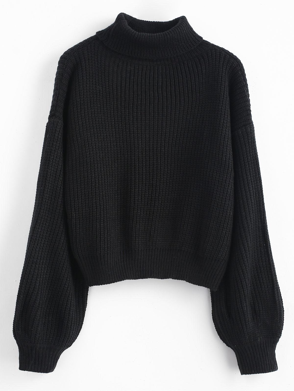 Turtleneck Lantern Sleeves Chunky Sweater