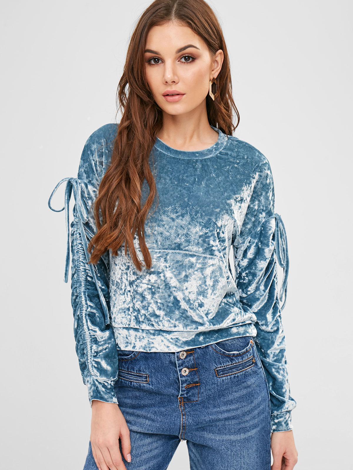 ZAFUL Pouch Pocket Crushed Velvet Sweatshirt