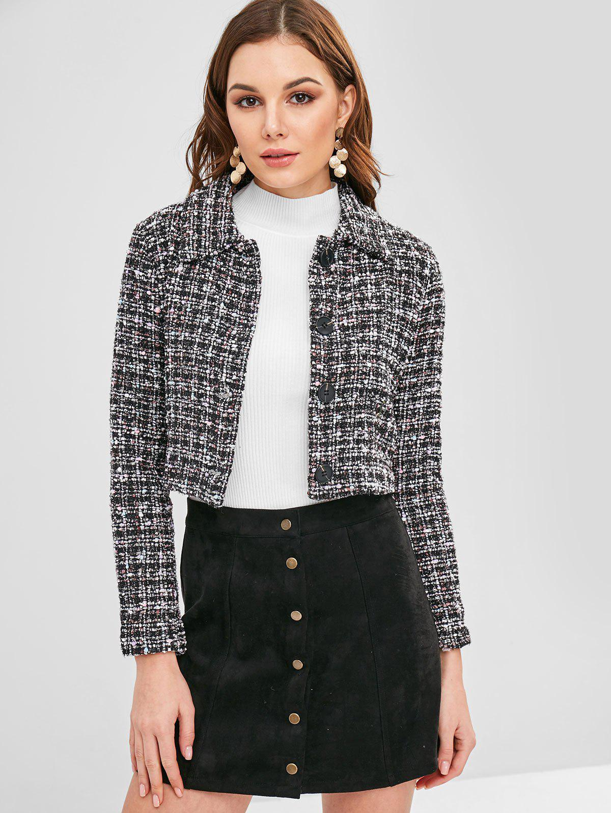 ZAFUL Cropped Button Up Tweed Jacket
