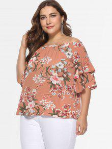 0b338f07850d0 22% OFF  2019 Floral Plus Size Off Shoulder Blouse In MULTI